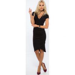 Sukienki: Czarna Kopertowa Sukienka 3381