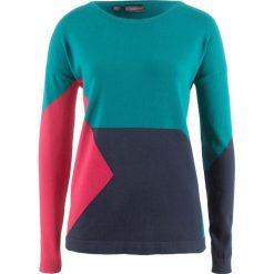 Swetry klasyczne damskie: Sweter patchworkowy bonprix kobaltowy turkusowy wzorzysty