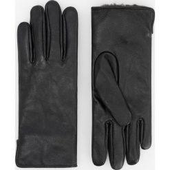 Skórzane rękawiczki - Czarny. Białe rękawiczki damskie marki Reserved, l, z dzianiny. Za 99,99 zł.