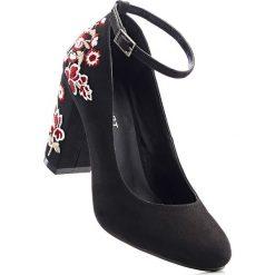 Buty ślubne damskie: Czółenka bonprix czarny w kwiaty