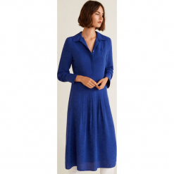Mango - Sukienka Dundee. Niebieskie długie sukienki Mango, na co dzień, l, z materiału, casualowe, z długim rękawem, rozkloszowane. Za 269,90 zł.