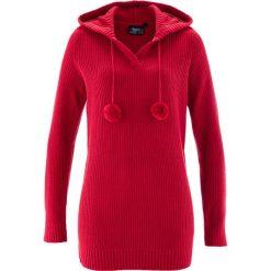 Swetry klasyczne damskie: Długi sweter z kapturem bonprix czerwony