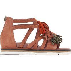 Rzymianki damskie: Płaskie skórzane sandały Ina