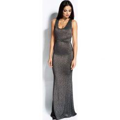 Srebrna Sukienka Syrena z Odkrytymi Plecami. Szare długie sukienki marki Molly.pl, na imprezę, l, z tkaniny, wizytowe, z długim rękawem, ołówkowe. Za 299,90 zł.