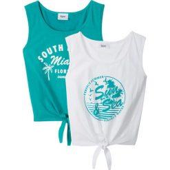Top (2 szt.) bonprix szmaragdowo-biały. Czarne bluzki dziewczęce z nadrukiem marki bonprix, z dresówki. Za 39,98 zł.
