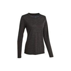 Koszulka turystyczna z długim rękawem TRAVEL 500 WOOL damska. Czarne t-shirty damskie marki FORCLAZ, m, z materiału. Za 79,99 zł.