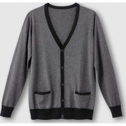 Swetry rozpinane męskie: Dwukolorowy sweter zapinany na guziki