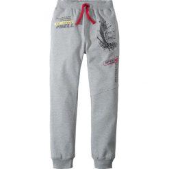 Spodnie męskie: Spodnie dresowe z nadrukiem bonprix jasnoszary melanż