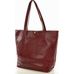 Shopper bag damskie: MELANIA Skórzana Torebka włoska shopper Bordowa
