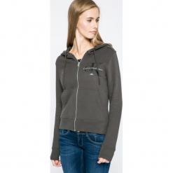 Calvin Klein Jeans - Bluza. Czarne bluzy rozpinane damskie Calvin Klein Jeans, l, z bawełny, z kapturem. W wyprzedaży za 329,90 zł.