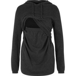 Swetry klasyczne damskie: Sweter ciążowy i do karmienia, z kapturem bonprix antracytowy melanż