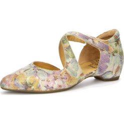 """Sandały damskie: Skórzane sandały """"Imma"""" w kolorze kremowym ze wzorem"""