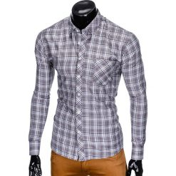 KOSZULA MĘSKA W KRATĘ Z DŁUGIM RĘKAWEM K419 - SZARA. Brązowe koszule męskie na spinki marki Ombre Clothing, m, z aplikacjami, z kontrastowym kołnierzykiem, z długim rękawem. Za 49,00 zł.