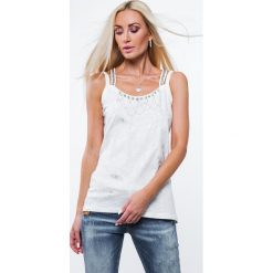 Bluzki asymetryczne: Bluzka na podwójnych ramiączkach kremowa ZZ1112