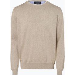 Andrew James - Sweter męski, beżowy. Brązowe swetry klasyczne męskie Andrew James, l, prążkowane, z kontrastowym kołnierzykiem. Za 149,95 zł.