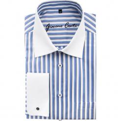 Koszula VITTORE 15-01-39. Białe koszule męskie na spinki Giacomo Conti, m, w paski, z bawełny, z włoskim kołnierzykiem. Za 199,00 zł.