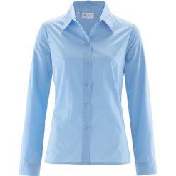 Bluzka bonprix jasnoniebieski. Niebieskie bluzki asymetryczne bonprix, klasyczne, z klasycznym kołnierzykiem, z długim rękawem. Za 44,99 zł.