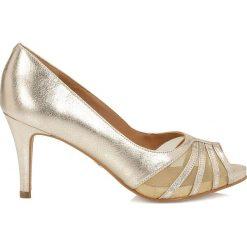 Czółenka: Złote czółenka peep toe