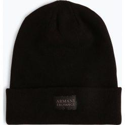 Armani Exchange - Czapka męska z dodatkiem kaszmiru, czarny. Czarne czapki męskie marki Armani Exchange, l, z materiału, z kapturem. Za 259,95 zł.
