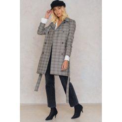 Płaszcze damskie: Trendyol Płaszcz dwurzędowy w kratę – Grey
