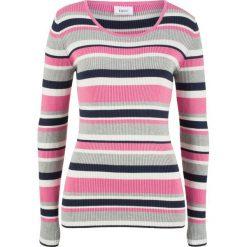 Sweter z okrągłym dekoltem bonprix matowy różowy w paski. Czerwone swetry klasyczne damskie bonprix, z okrągłym kołnierzem. Za 74,99 zł.