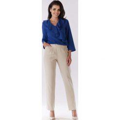 Bluzki damskie: Niebieska Bluzka z Asymetryczną Falbanką