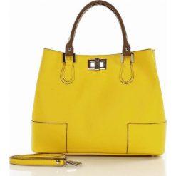 Kuferki damskie: Torebka włoska kuferek skóra MAZZINI – KARTER żółty