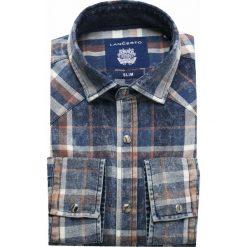 Koszula Jeansowa w Kratę Everlast. Brązowe koszule męskie jeansowe marki LANCERTO, m, z kontrastowym kołnierzykiem. W wyprzedaży za 199,90 zł.