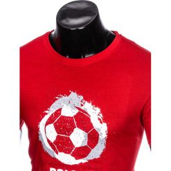 T-SHIRT MĘSKI Z NADRUKIEM S965 - CZERWONY. Czarne t-shirty męskie z nadrukiem marki Ombre Clothing, m, z bawełny, z kapturem. Za 29,00 zł.