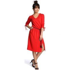 ANGELINE Sukienka z podciąganymi rękawami - czerwona. Czerwone sukienki boho BE, s. Za 179,90 zł.