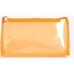 Kosmetyczki damskie: Transparentna kosmetyczka - Pomarańczo