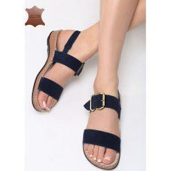 Niebieskie Skórzane Sandały Unknown Just. Niebieskie sandały damskie marki Born2be, z materiału, na obcasie. Za 99,99 zł.