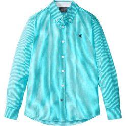 Koszula z długim rękawem w paski bonprix turkusowo-biały w paski. Zielone bluzki dziewczęce w paski marki bonprix, z kopertowym dekoltem, kopertowe. Za 27,99 zł.