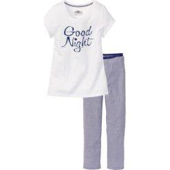 Piżamy damskie: Piżama, bawełna organiczna bonprix ciemnoniebiesko-biały