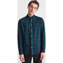 Bawełniana koszula w kratę - Zielony. Zielone koszule męskie marki Reserved, l, z weluru. Za 99,99 zł.