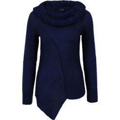 Swetry klasyczne damskie: Asymetryczny sweter dzianinowy bonprix niebieski
