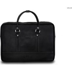 Męska czarna elegancka torba na ramię Solier NORMAN. Czarne torby na ramię męskie marki Solier, w paski, z jeansu. Za 179,00 zł.