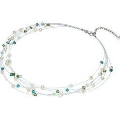Naszyjniki damskie: Naszyjnik z perłami słodkowodnymi i kryształkami Swarovski – dł. 43 cm