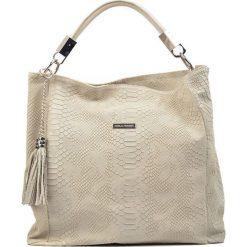 Torebki klasyczne damskie: Skórzana torebka w kolorze beżowym – (S)35 x (W)48 x (G)14 cm