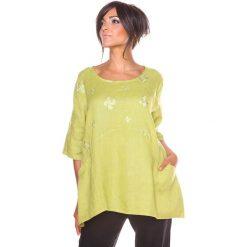 """Bluzki asymetryczne: Lniana koszulka """"Shira"""" w kolorze żółtym"""