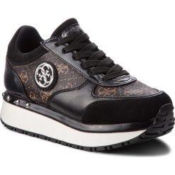 Sneakersy GUESS - FLTIF3 PEL12 BROWN. Czarne sneakersy damskie marki Guess, z materiału. Za 499,00 zł.