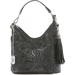 Skórzana torebka w kolorze czarnym - 20 x 25 x 10 cm. Czarne torebki klasyczne damskie Anna Morellini, w paski, z materiału, z tłoczeniem. W wyprzedaży za 217,95 zł.