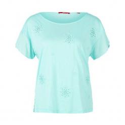 S.Oliver T-Shirt Damski 36 Turkusowy. Niebieskie t-shirty damskie S.Oliver, s, z nadrukiem, z materiału. W wyprzedaży za 99,00 zł.