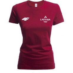 Bluzki damskie: Koszulka damska Łotwa Pyeongchang 2018 TSD800 – bordowy
