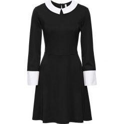 Sukienka bonprix czarno-biały. Czarne sukienki z falbanami marki bonprix, do pracy, biznesowe, z koszulowym kołnierzykiem, koszulowe. Za 129,99 zł.
