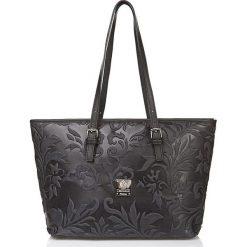 Torebki klasyczne damskie: Skórzana torebka w kolorze czarnym – 42 x 26 x 16 cm