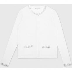 Kardigan kaszmirowy w kolorze białym. Białe kardigany damskie marki Ateliers de la Maille, z aplikacjami, z kaszmiru. W wyprzedaży za 454,95 zł.
