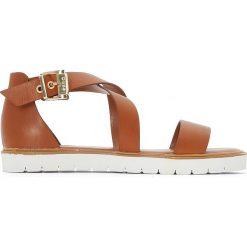 Rzymianki damskie: Skórzane sandały na płaskim obcasie Jada