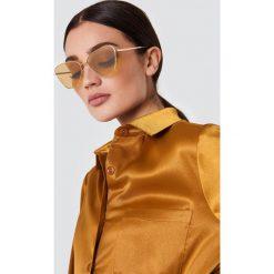 Le Specs Okulary przeciwsłoneczne Echo - Gold. Brązowe okulary przeciwsłoneczne damskie aviatory Le Specs. Za 283,95 zł.