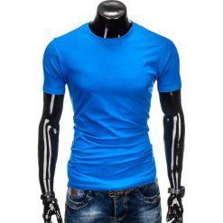 T-shirty męskie z nadrukiem: T-SHIRT MĘSKI BEZ NADRUKU S884 – NIEBIESKI